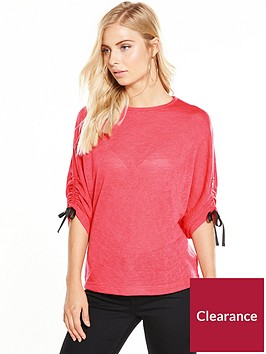 v-by-very-tie-ruched-sleeve-snit-top-hot-pink