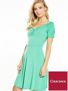 v-by-very-puff-shoulder-sweetheart-neck-dress-apple-green