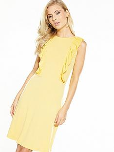 v-by-very-ruffle-front-short-dress-yellow