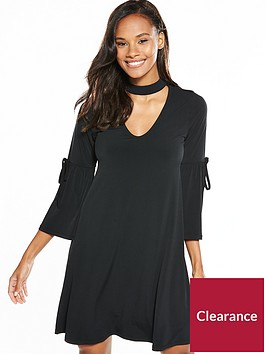 v-by-very-choker-tie-sleeve-short-dress-black
