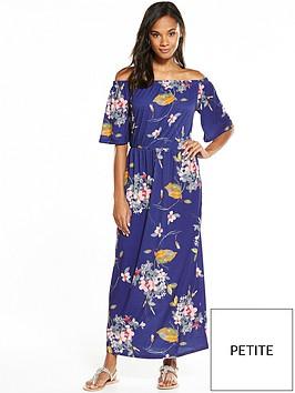 v-by-very-petite-petite-bandeau-fluted-sleeve-maxi-dress