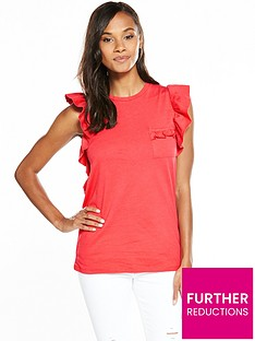 v-by-very-ruffle-sleeve-cotton-t-shirt-hot-pink