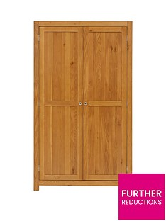 Luxe Collection Suffolk Ready Assembled 100% Solid Wood 2 Door Wardrobe