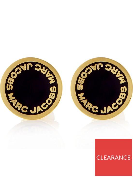 394e7ce5b MARC JACOBS Black Enamel Logo Disc Stud Earrings - Gold Plated ...
