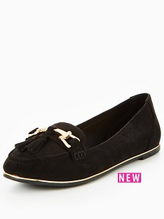 v-by-very-yorkie-gold-trim-tassel-loafer-black