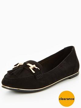 v-by-very-yorkie-gold-trim-tassel-loafer-black
