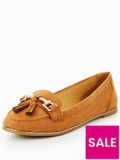 v-by-very-yorkie-gold-trim-tassel-loafer-tan