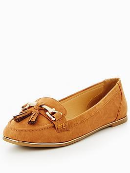 v-by-very-yorkie-gold-trim-tassel-loafer-tan