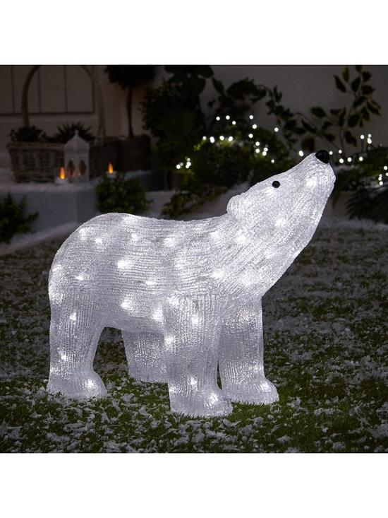 outdoor spun acrylic polar bear light outdoor christmas decoration verycouk