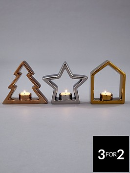 tree-star-and-house-silhouette-christmas-tealight-holders-set-of-3