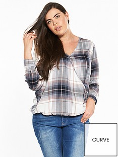 v-by-very-curve-wrap-checked-shirt