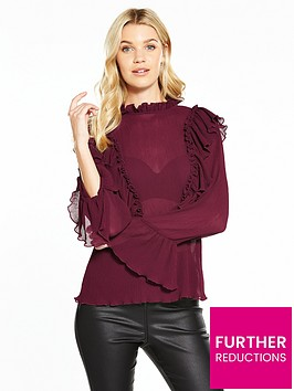 v-by-very-ruffle-crinkle-high-neck-blouse