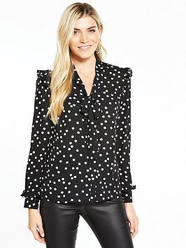v-by-very-spot-ruffle-shoulder-tie-neck-blouse