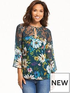 myleene-klass-lace-yoke-printed-blouse