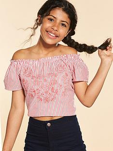 v-by-very-red-stripe-embellished-off-the-shoulder-top