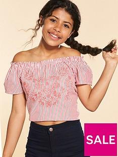 v-by-very-red-stripe-embellished-off-the-shoulder-top