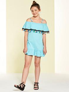 v-by-very-pom-pom-off-the-shoulder-dress