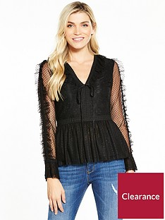 v-by-very-lace-spot-and-mesh-v-neck-blouse