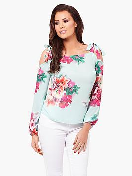 Jessica Wright Charley Printed Cold Shoulder Top