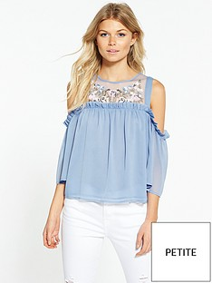 miss-selfridge-petite-embroidered-cold-shoulder-blouse
