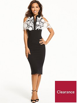 myleene-klass-3d-lace-cape-dress-monochrome