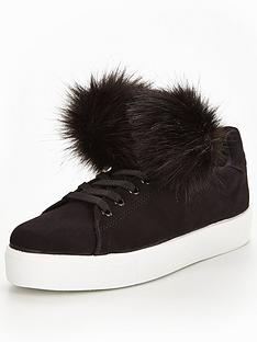 v-by-very-fluffy-pom-pom-lace-up-trainer-black