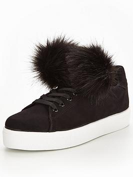 v-by-very-fluffy-pom-pom-lace-up-trainer-black