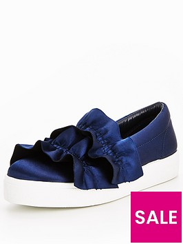 v-by-very-wave-frilly-slip-on-plimsoll-navy