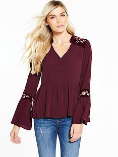 v-by-very-velvet-trim-embroidered-blouse-merlot