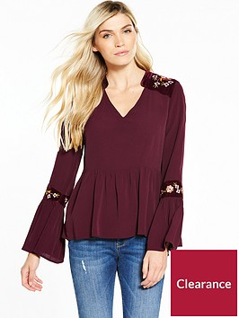 v-by-very-velvet-trim-embroidered-blouse-merlot