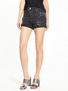 miss-selfridge-ripped-mom-denim-short-black