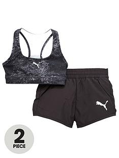 puma-puma-older-girls-active-dry-essential-woven-short-and-bra-set