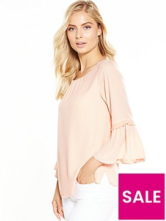 wallis-happy-days-flute-sleeve-top-blush