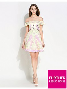 comino-couture-bardot-pink-print-dress