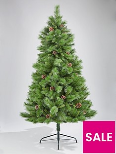 dewdrop-christmas-tree-with-pine-cones-6ft