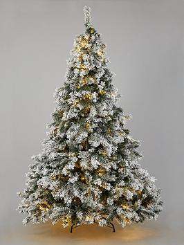 7ft-flocked-pre-lit-downswept-pine-tree