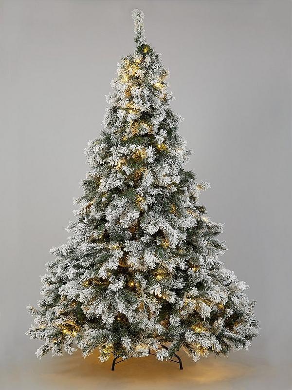 7 Ft Christmas Tree Prelit.7ft Flocked Pre Lit Downswept Pine Christmas Tree