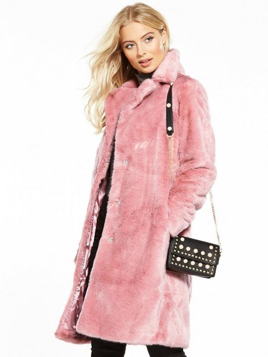 V by Very Faux Fur Coat - Pink | very.co.uk