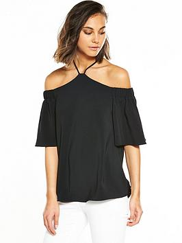 river-island-river-island-black-high-neck-short-sleeve-blouse