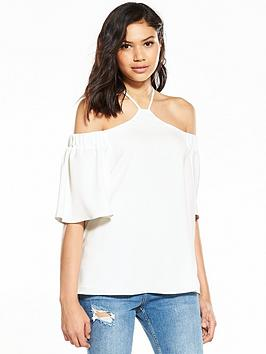 river-island-river-island-white-high-neck-short-sleeve-blouse