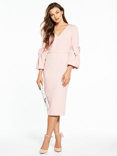 v-by-very-volume-sleeve-dress-with-bow-cuffs
