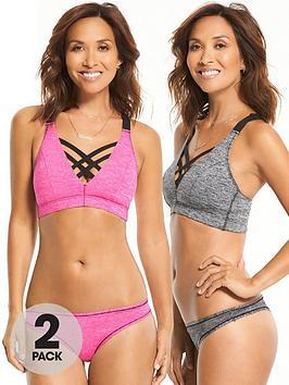 Photo of Myleene klass 2 pack sports smooth comfort thong - grey marl/pink