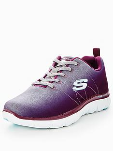 skechers uk. skechers flex appeal 2.0 bright side lace up trainer - burgundy uk a