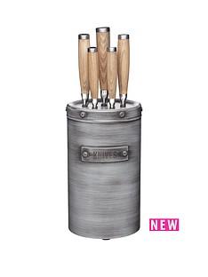 kitchen-craft-industrial-kitchen-five-piece-knife-set-with-metal-storage-block