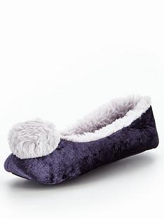 v-by-very-willow-pom-velvet-ballerina-slipper-navy
