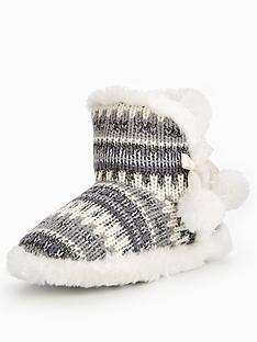 v-by-very-binky-metallic-knitted-pom-pom-bootienbsp--grey