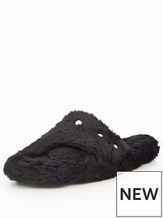 caramel-embellished-fluffy-cross-over-mule-slipper-black