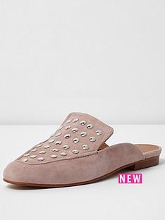 river-island-river-island-pink-cotton-studded-backless-loafer