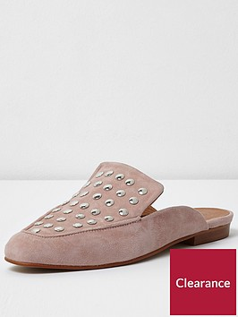 river-island-river-island-pink-cotton-studded-backless-loafer