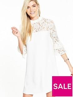 v-by-very-frill-sleeve-lace-insert-tunic-dress-ivory